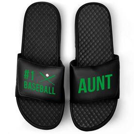Baseball Black Slide Sandals - #1 Baseball Aunt