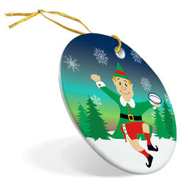Rugby Porcelain Ornament Christmas Elf