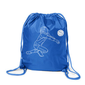 Volleyball Sport Pack Cinch Sack - Volleyball Girl Player Sketch