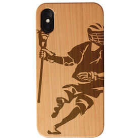 Guys Lacrosse Engraved Wood IPhone® Case - Guy Player
