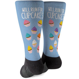 Running Printed Mid-Calf Socks - Will Run For Cupcakes