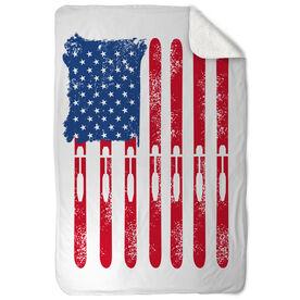 Skiing Sherpa Fleece Blanket - American Flag