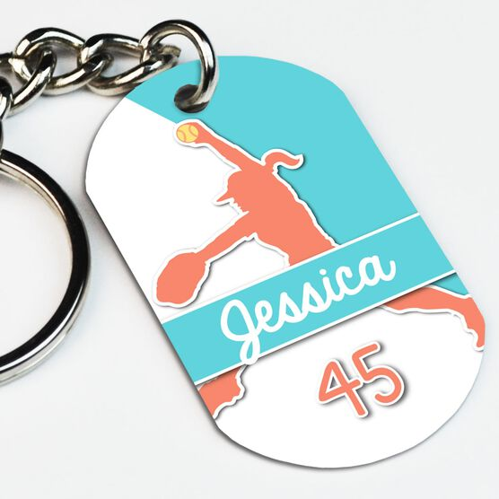Softball Printed Dog Tag Keychain Personalized Softball Pitcher Name and Number