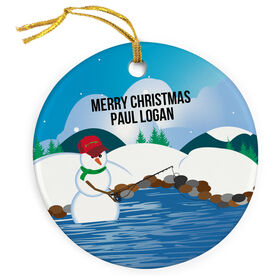 Fly Fishing Porcelain Ornament Casting Snowman