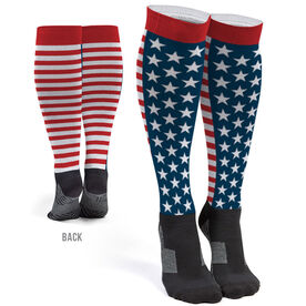 Printed Knee-High Socks - Stars And Stripes Front and Back