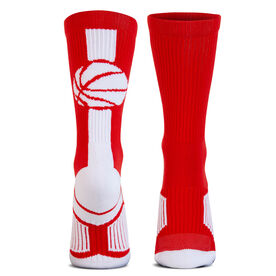 Basketball Woven Mid-Calf Socks - Superelite (Red/White)