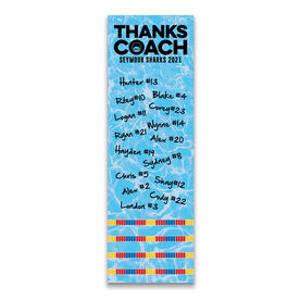 "Swimming 12.5"" X 4"" Removable Wall Tile - Thanks Coach (Autograph) Vertical"