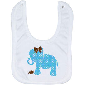 Football Baby Bib - Football Elephant with Bow