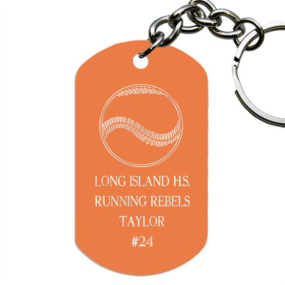 Engraved Personalized Softball Dog Tag Keychain