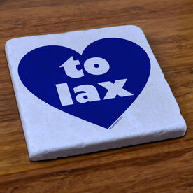 Lacrosse Natural Stone Coaster Heart To Lax