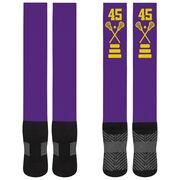 Girls Lacrosse Printed Knee-High Socks - Lacrosse Stick Team Number