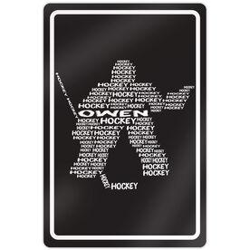 "Hockey Aluminum Room Sign Personalized Hockey Words Player Goalie (18"" X 12"")"