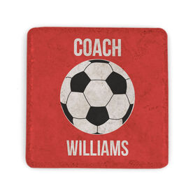Soccer Stone Coaster - Personalized Soccer Coach Soccer Ball