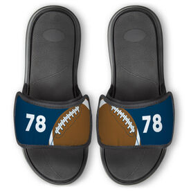Football Repwell™ Slide Sandals - Ball and Number Reflected