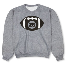 Football Crew Neck Sweatshirt - Personalized Football with Number