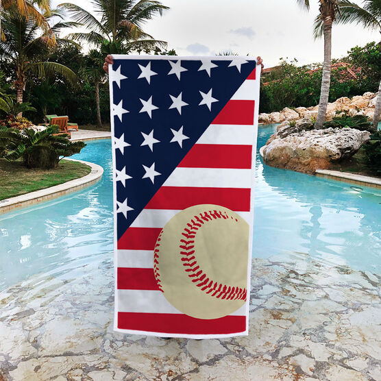 Baseball Premium Beach Towel - Baseball USA Flag