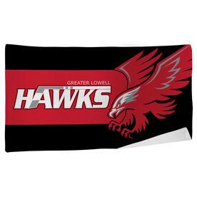 Beach Towel - Greater Lowell Hawks Hockey Logo