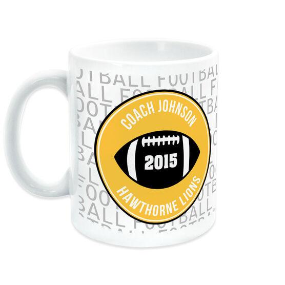 Football Coffee Mug Personalized Coach Word Pattern