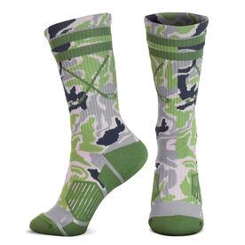 Hockey Woven Mid-Calf Socks - Classic Stripe Crossed Sticks (Camo)