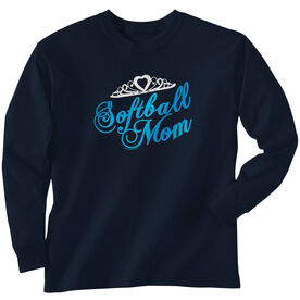 Softball Tshirt Long Sleeve Mom Script with Tiara