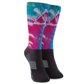 Girls Lacrosse Printed Mid-Calf Socks - Personalized Tie-Dye Pattern with Lacrosse Sticks