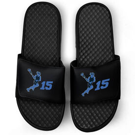 Girls Lacrosse Black Slide Sandals - Lax Girl with Number