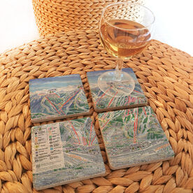 Skiing & Snowboarding Stone Coasters Set of Four - Trail Map