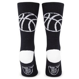 Basketball Woven Mid Calf Socks - Ball Silhouette (Black/White)