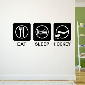 Eat Sleep Hockey Removable ChalkTalkGraphix Wall Decal