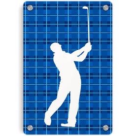 Golf Metal Wall Art Panel - Plaid Male Golfer