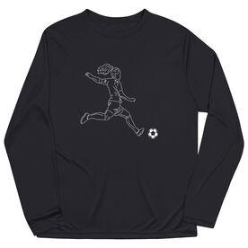 Soccer Long Sleeve Performance Tee - Soccer Girl Player Sketch