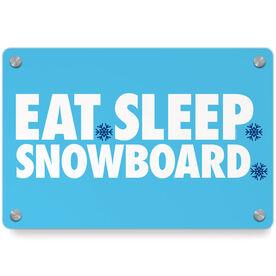 Snowboarding Metal Wall Art Panel - Eat Sleep Snowboard