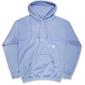 Soccer Hooded Sweatshirt - Soccer Girl Player Sketch