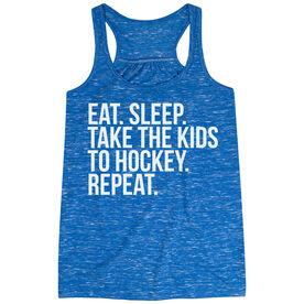 Hockey Flowy Racerback Tank Top - Eat Sleep Take The Kids To Hockey