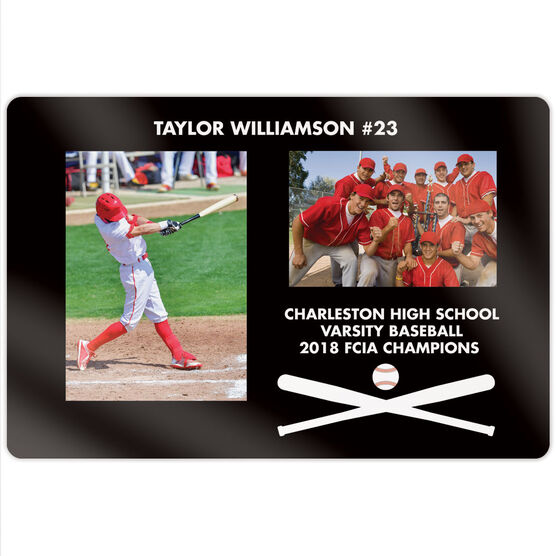 "Baseball 18"" X 12"" Aluminum Room Sign - Player and Team Photo"