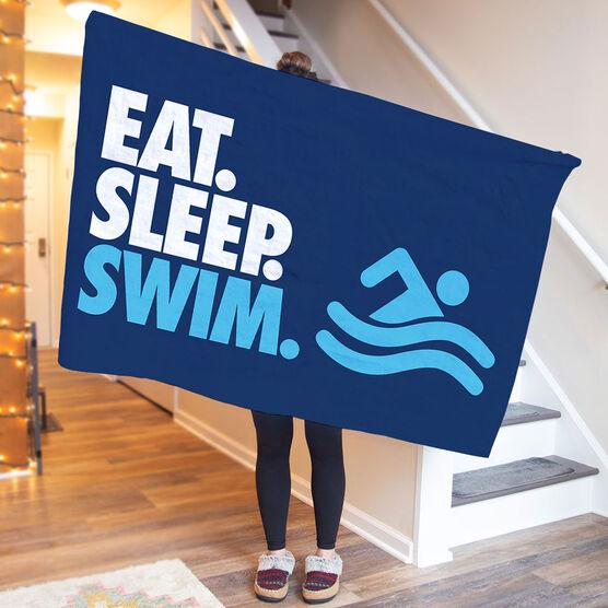 Swimming Premium Blanket - Eat. Sleep. Swim. Horizontal