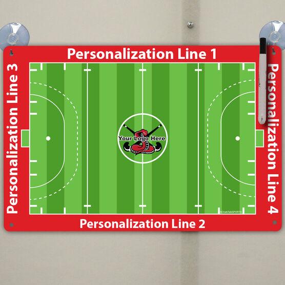 "Field Hockey Custom Dry Erase Coach Board Full Field - 18"" X 12"""