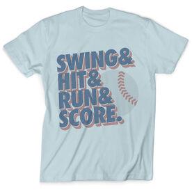 Vintage Baseball T-Shirt - Swing & Hit & Run & Score