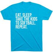 Softball Short Sleeve T-Shirt - Eat Sleep Take The Kids To Softball