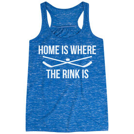 Hockey Flowy Racerback Tank Top - Home Is Where The Rink Is