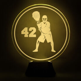 Lacrosse Acrylic LED Lamp Round Goalie With Number