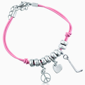 Peace Love Hockey Silver Charm Bracelet