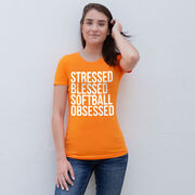 Softball Women's Everyday Tee - Stressed Blessed Softball Obsessed