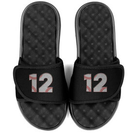 Baseball PR SOLES® Adjustable Strap Recovery Slide Sandals - Baseball Number Stitches