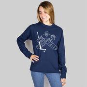 Hockey Long Sleeve T-Shirt - Hockey Goalie Sketch
