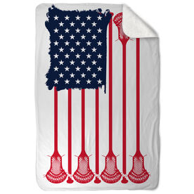Guys Lacrosse Sherpa Fleece Blanket - American Flag