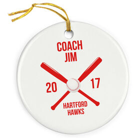 Baseball Porcelain Ornament Personalized Coach Box