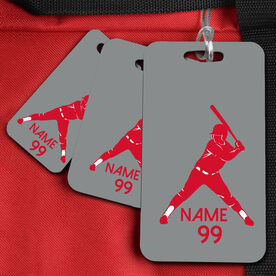 Baseball Bag/Luggage Tag Batter Silhouette Name and Number