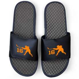 Hockey Navy Slide Sandals - Hockey Slapshot with Number