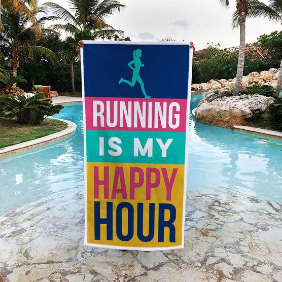 Running Premium Beach Towel - Running Is My Happy Hour